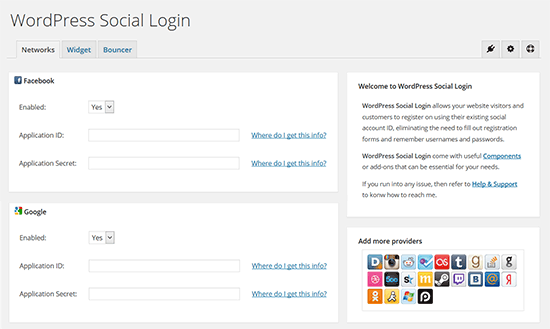 WordPress sociale login
