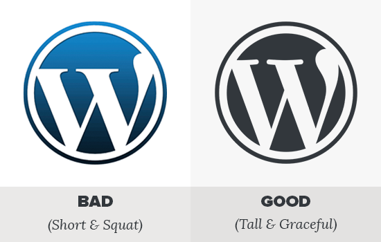 WordPress faux vs pravi logotip