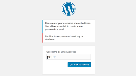 Ang pag-reset ng password ng key key sa WordPress