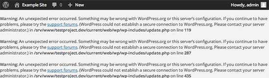 Secure error sa koneksyon sa WordPress