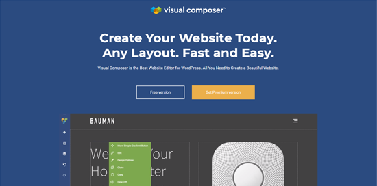 Wtyczka Visual Composer Website Builder