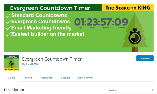 De plug-in Evergreen Countdown Timer