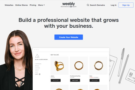 Laman web platform eCommere Weebly