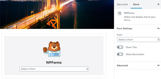 """WPForms"" blokas ""WordPress"" įraše"