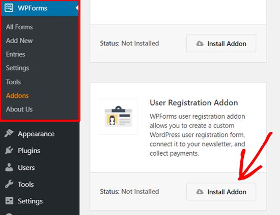 Instalați WPForms User Registration Addon