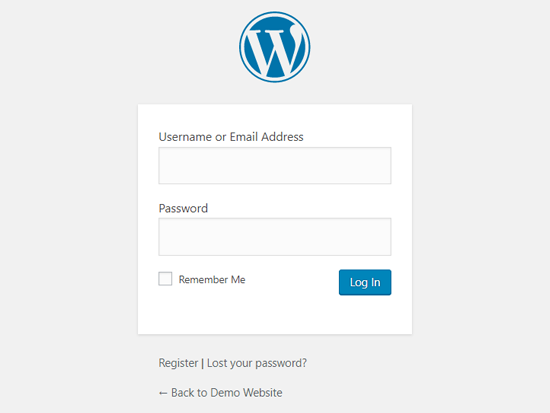 Pagina de conectare WordPress implicită