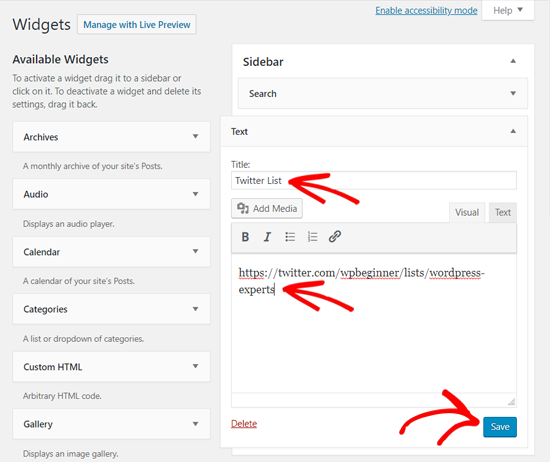Lägg till Twitter-lista i WordPress Text Widget