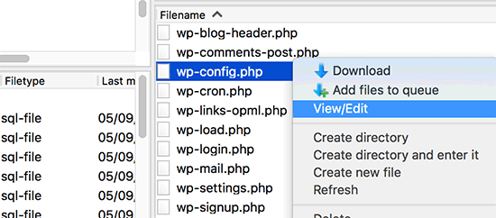 Modifica del file wp-config.php tramite FTP