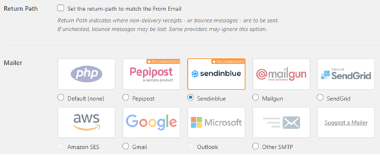 Seleziona Sendinblue come mailer in WP Mail SMTP