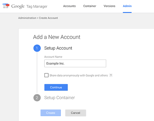Google Tag Manager-account maken