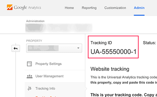 UA-tracking-ID in Google Analytics