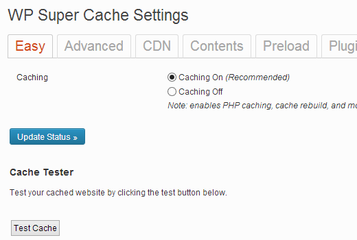 Ang pag-on sa Cache sa WP Super Cache para sa WordPress