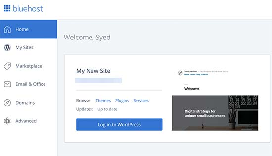 Mag-log in sa iyong WordPress blog mula sa Bluehost dashboard