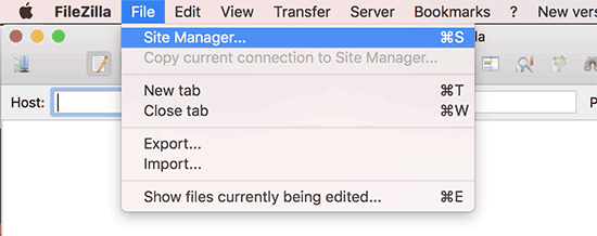 Sitemanager in FileZilla FTP-client