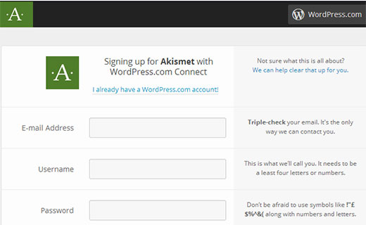 Akismet si iscrive con l'account WordPress.com